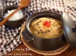 구수한 고향의 맛..쫄깃한 가래떡이 들어간<김치 콩비지찌개>